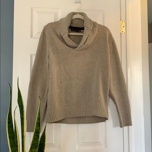 Zara shawl collar beige sweater with elbow patches
